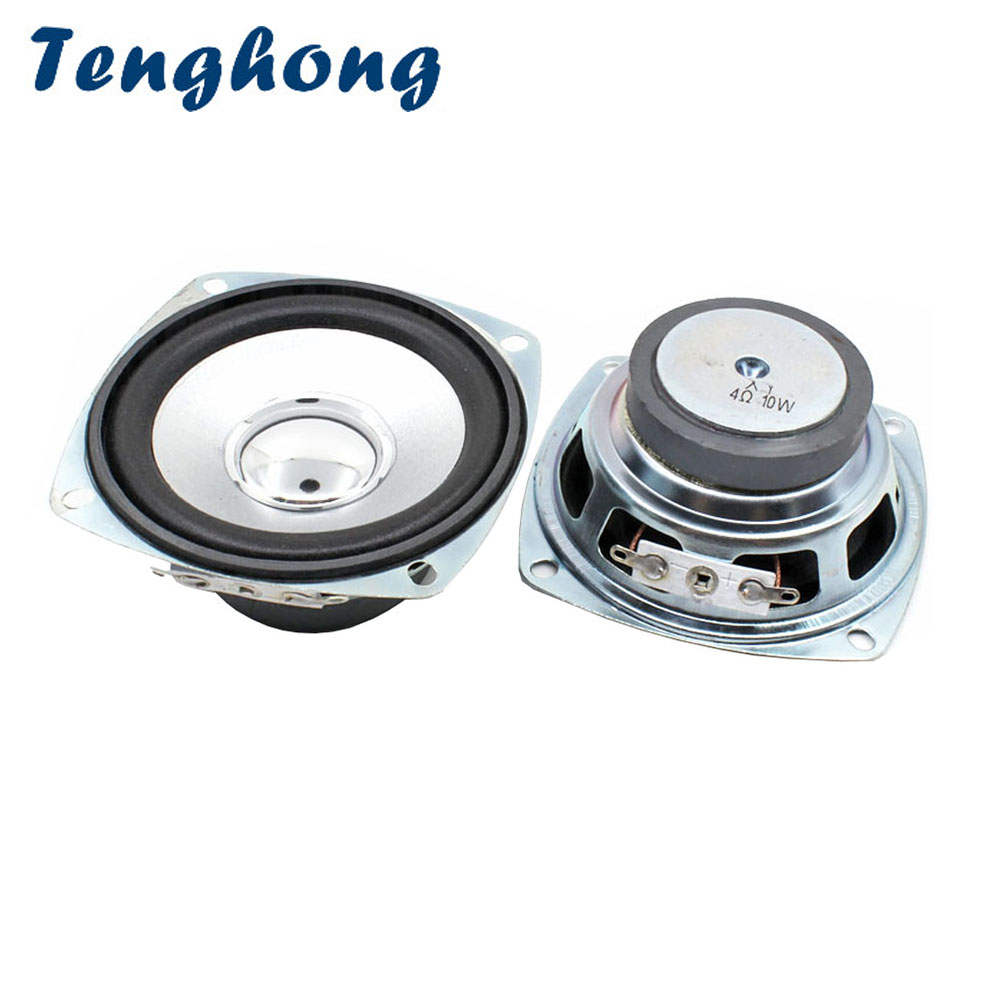 Tenghong 2pcs 3 Inch Full Range Speakers 4Ohm 10W 78MM Square Portable Audio Speaker Unit For Home Theater Loudspeakers DIY