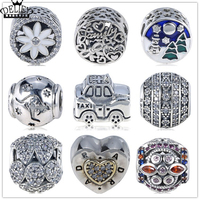 DELIEY Authentic 925 Sterling Silver Charm Car,Heart,Round Beads Fit Original Charm Bracelet Fine DIY Jewelry Gift