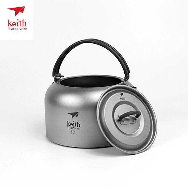 Keith 1000 ML titane Camping bouilloire en plein air café bouilloire Camping vaisselle voyage vaisselle en plein air pique-nique ensemble Ti3901