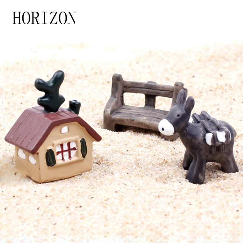 3PCS /Set Artificial Miniature Cute House Bench Donkey Set Model Toys Micro Landscape Ornaments Home Garden Decoration