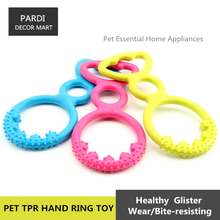 TPR eco-friendly pet toy Hand ring shape rubber toy bite molar relax pet toy molar toy bite resistance 1pc/lot