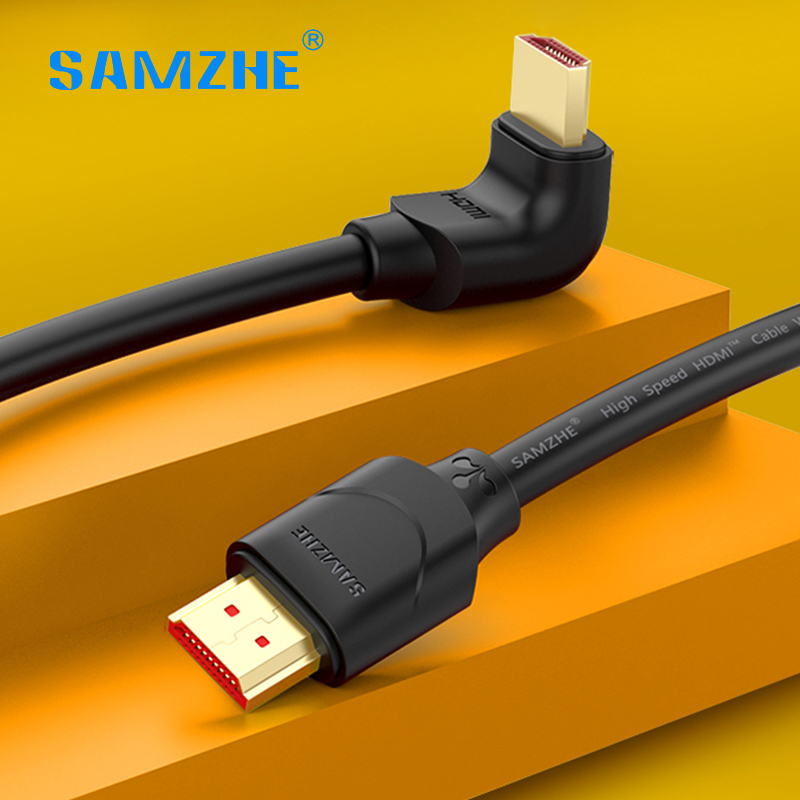 Samzhe New Arrival Right Angle Hdmi 2.0 Cable 90/270 Degree Video Cabo Male To Male 4k 18gbps 3d For Tv Ps4 Projector Computer samzhe hdmi to hdmi cable flat hdmi2 0 cable male to male 4k 2k 18gbps supports ethernet 3d 4k video for hdtv ps3 4