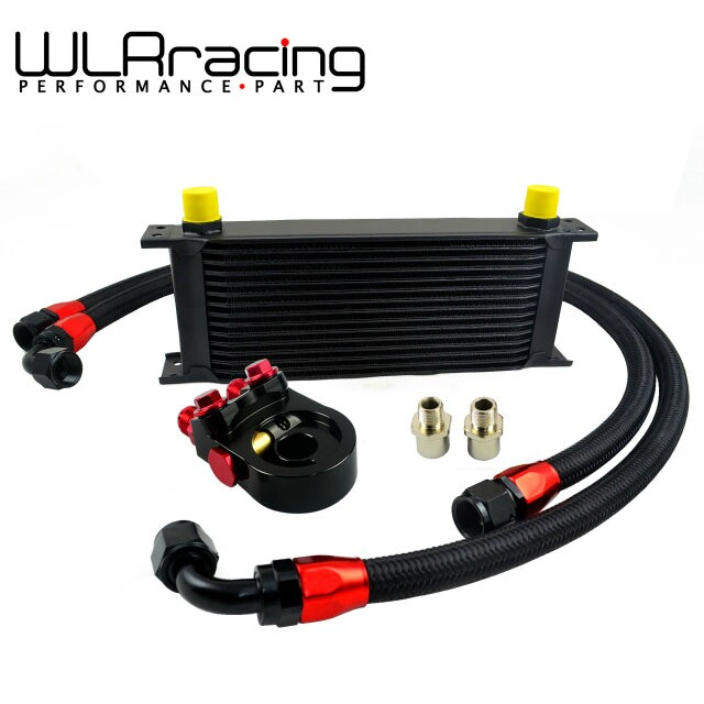 WLRING- Universal 15 ROWS Trust type OIL COOLER + AN10 Oil Filter Cooler Sandwich Plate Adapter + 2PCS NYLON BRAIDED HOSE LINE