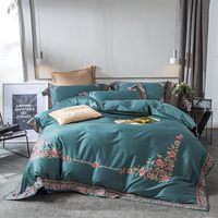 Green egyptian cotton Bedding Set deer Embroidery Duvet Cover Set 4pcs Embroidery Bed Linen Quilt Cover Queen King Wedding Gift