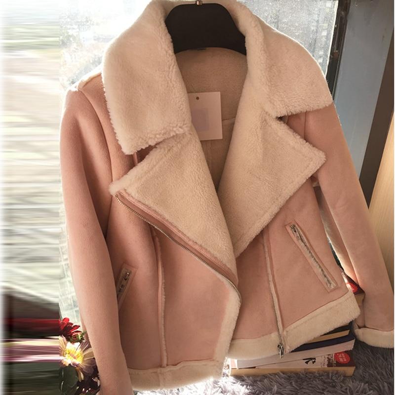 famosa marca de diseñador servicio duradero calidad confiable Moda Abrigo Cordero Mujer Nueva La Las Motocicleta ...