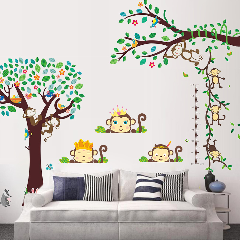forest monkey tree Height Measure wall decals for kids rooms home decor cartoon animlas wall stickers diy poster mural art