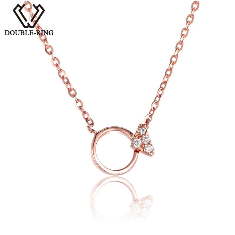 DOUBLE R 18 k Or Fine Jewelry Femmes Diamant Colliers SI 0.02ct Bonne Coupe Rose Romantique De Mariage Pendentifs personnalisés CASN02415KA