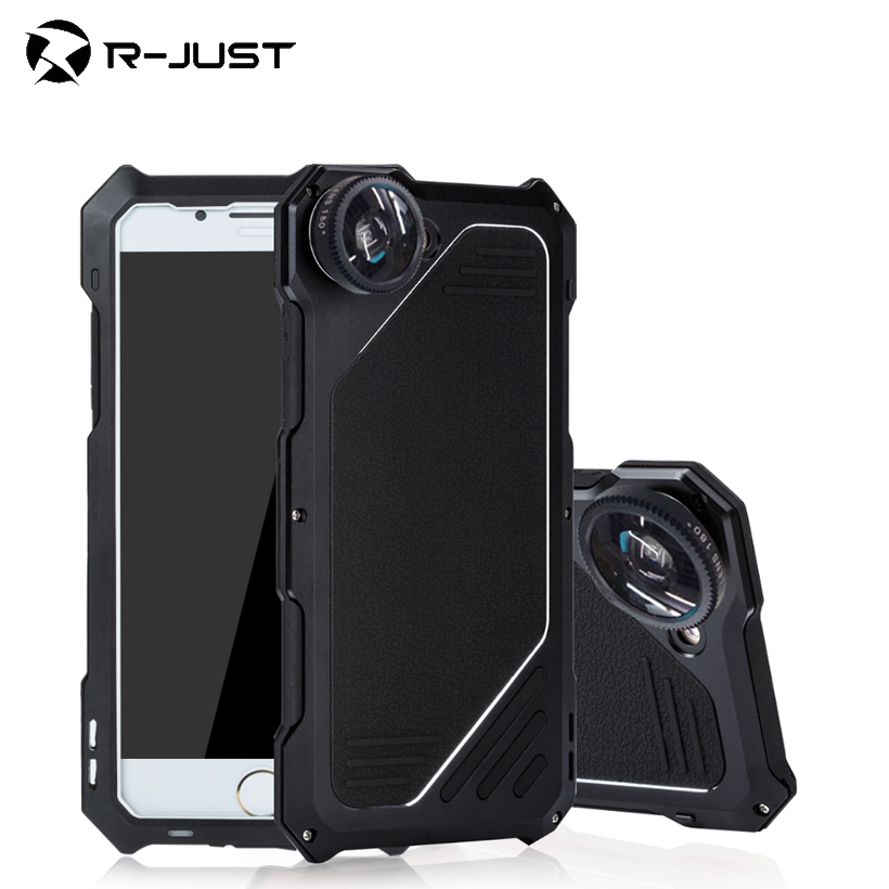 imágenes para R-just impermeable case para apple iphone 7 7 plus case teléfono cámara bolso del teléfono case lente ojo de pez para apple iphone 7 7 más cubierta