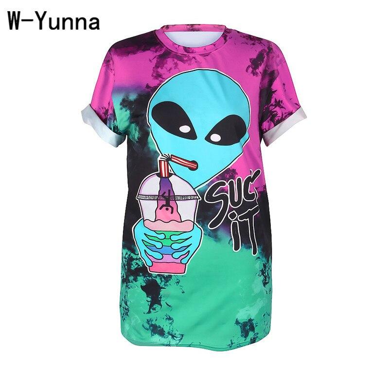 W-Yunna T-Shirt da Donna Estate 2018 Alien Drink Stampa Digitale a Maniche Lunghe Allenamento Magliette Sexy Street Style Magliette e camicette per Le Donne