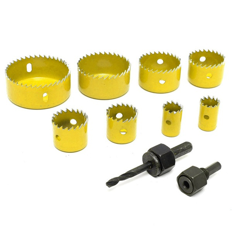 LIXF Hot 8 Pcs Wood Alloy Iron Cutter Bimetal Hole Saw Drill Bit Kit with Hex Wrench Yellow 1pc sds plus shank concrete cement stone wall hole saw drill bit 65mm wrench rounds alloy blade combinations