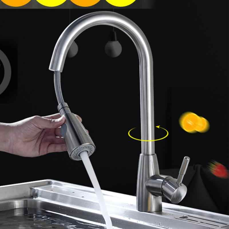Pull Out Mixer Spray Kitchen Faucet Swivel Stream Sink Durable Single Hole Handle Sprayer Rotation Tap Brushed Nickel