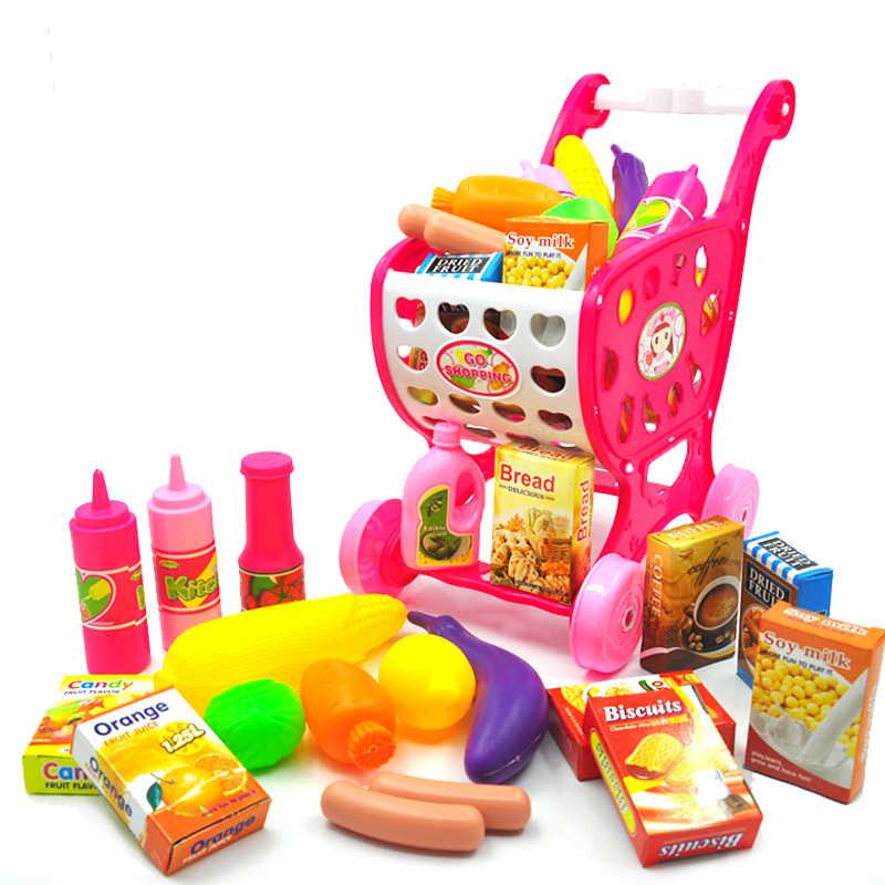 37 pcs Mini Keranjang Belanja Supermarket Simulasi Makanan Sayuran Keranjang Plastik Mainan untuk Bebek Anak Troli Gadis Berpura-pura Bermain Permainan