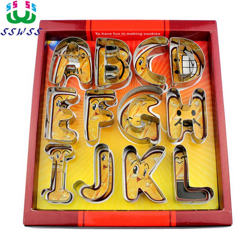 Grande lettre anglaise 26 moules à biscuits en acier inoxydable, moules de cuisson, outils de décoration de gâteau, vente directe folle
