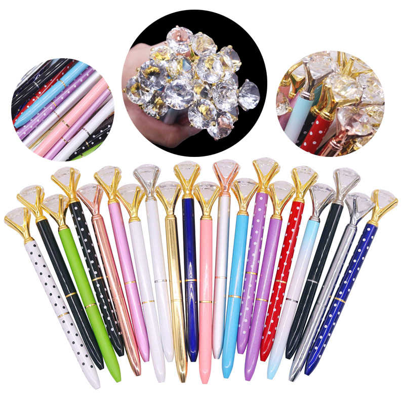 20 pcs 20 Colors Mixing Big Diamond Metal Gift Ballpoint Pen 0.7mm Bullet Tip Fashion Gift Pen Student Writing Office Note Pen