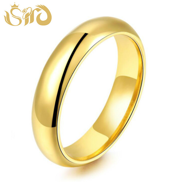 Simple 4MM Round Smooth Titanium Steel Rings Women Men Fashion Finger Ring Drop Shipping Gold & Silver & Black Color Ring
