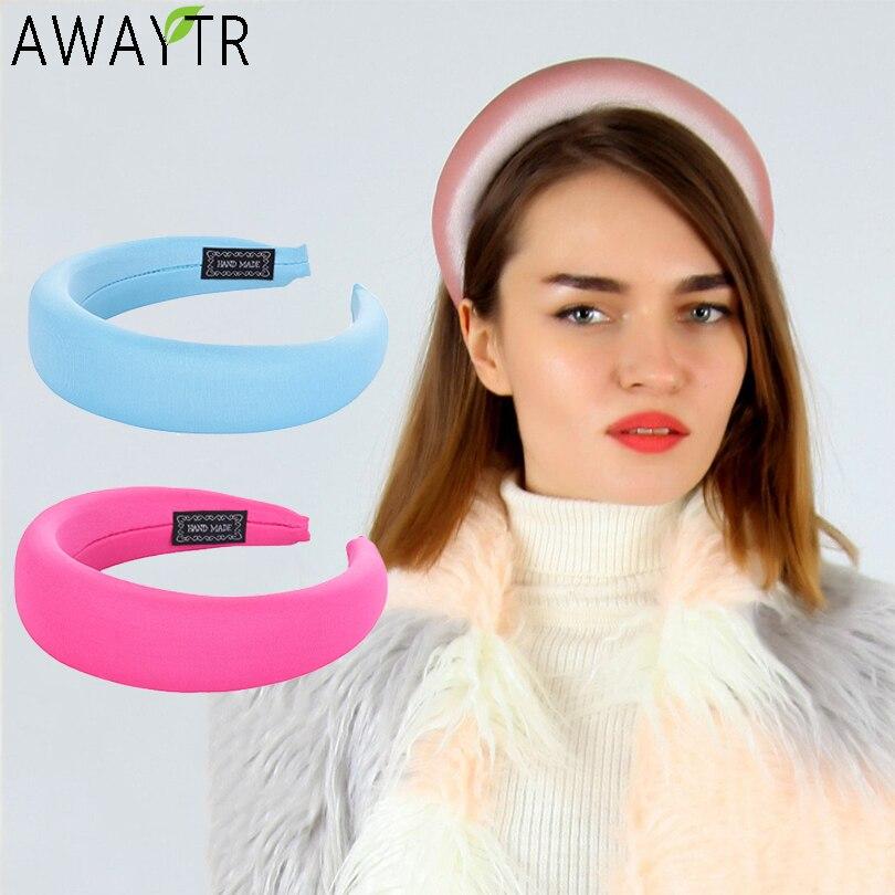 AWAYTR Padded Hairbands Elastic Headband For Women 4CM Wide Plastic Fashion   Headwear   Head Band Hair Accessories Drop Shipping