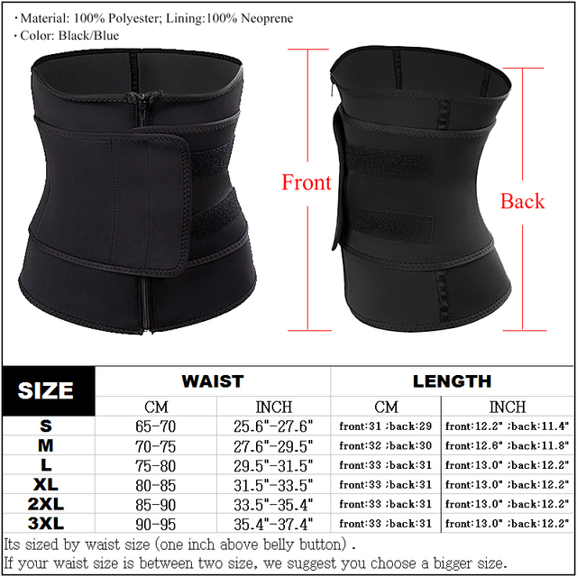 Plus Size Women Shaper Zipper Neoprene Sauna Waist Trainer Corset Slimming Belt Sweat Weight Loss Waist Cincher 5