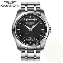 2016 brand GUANQIN Men's fashion casual watch Quartz Leather Strap automatic mechanical Men Wristwatch Stainless Steel