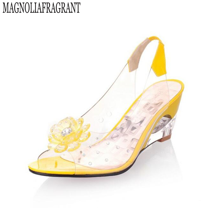 New Summer Women's sandals shoes woman Peep Toe Wedge Sandals With Flowers Sweet Jelly Shoes  Size Plus 35-43 zapatos mujer z19 cdts 35 45 46 summer zapatos mujer peep toe sandals 15cm thin high heels flowers crystal platform sexy woman shoes wedding pumps