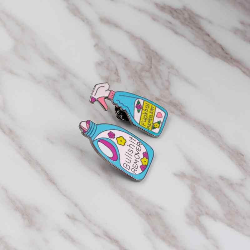 Модная брошь шпильки смешная Чистка значок эмаль шпильки нагрудный знак брошь женский костюм броши Геометрическая бутылка булавка ювелирные изделия