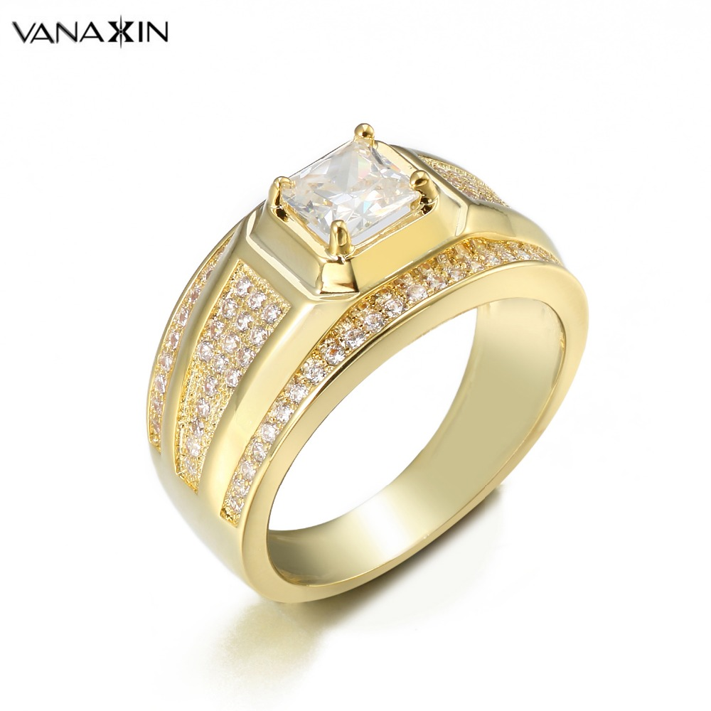VANAXIN Iced Out CZ Crystal Ring Women Rings Gold/Silver Color Sparkling Jewllery Engagement New Arrival Female Gift Nice Box
