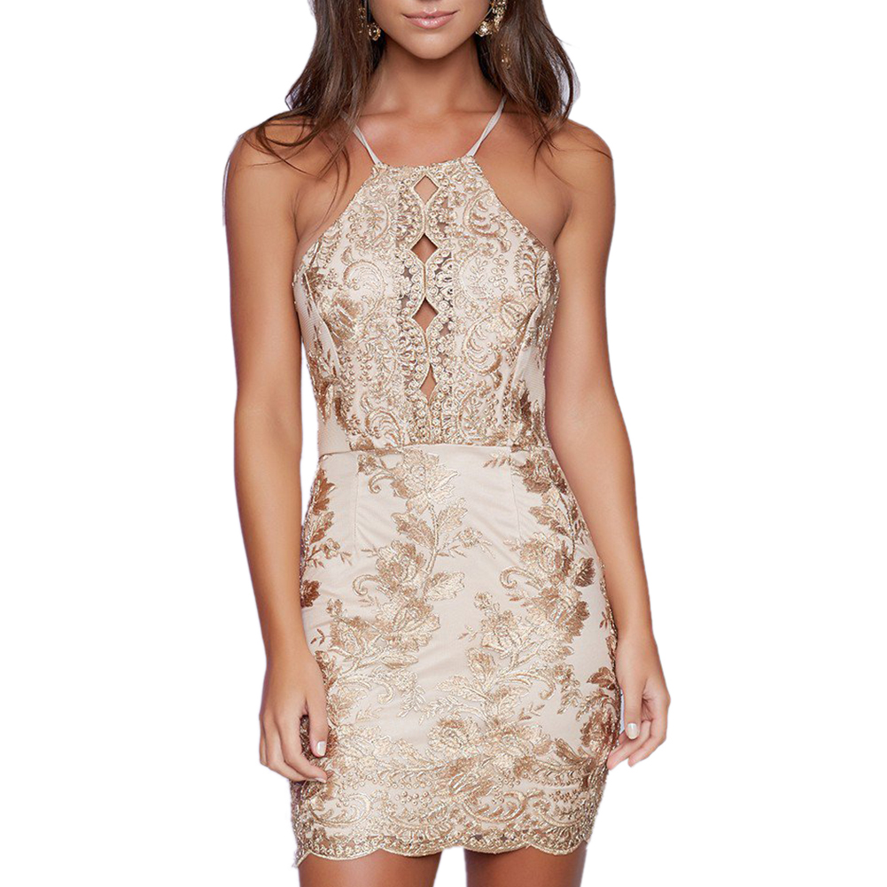 Gold Lace Sleeveless Dress