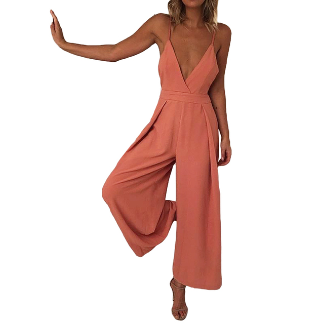 1a454a0fe3f2 Sexy Women Romper Sleeveless Wide Leg Jumpsuit Deep V Neck Backless Bandage  Spaghetti Strap Wide Leg Pants Slim Playsuit Orange