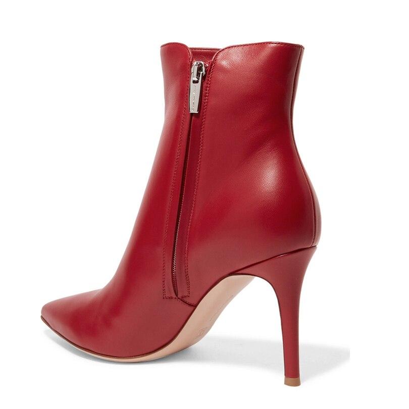 Bout Véritable Bottes Cuir Pointu Talon En Haut De Mode Tirette Femmes Cheville Courtes Black red rdQCtsh