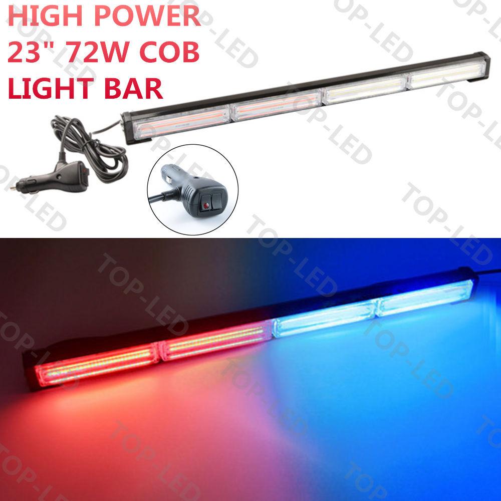 CYAN SOIL BAY 23 72W COB LED Emergency Beacon Warning Traffic Advisor Strobe Light Bar Blue Red Lamp