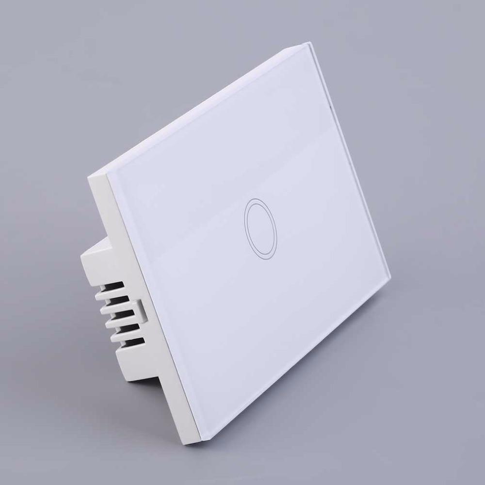 Casa inteligente panel de cristal blanco cristal 1 gang ee.uu. plug luz sentido