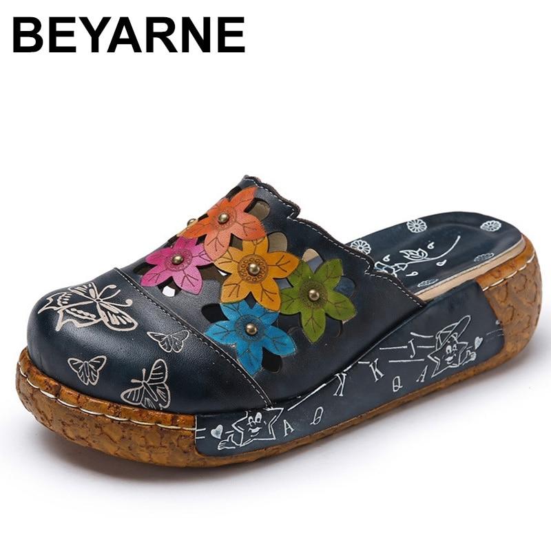 BEYARNE Genuine Leather Shoes Flower Slippers Handmade Slides Flip Flop On The Platform Clogs For Women