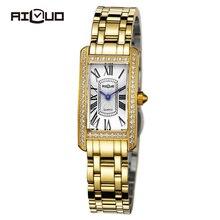 Бренд класса люкс ретро мода платье часы женщины алмаз кварцевые наручные часы из нержавеющей стали сапфировое стекло водонепроницаемые 50 м