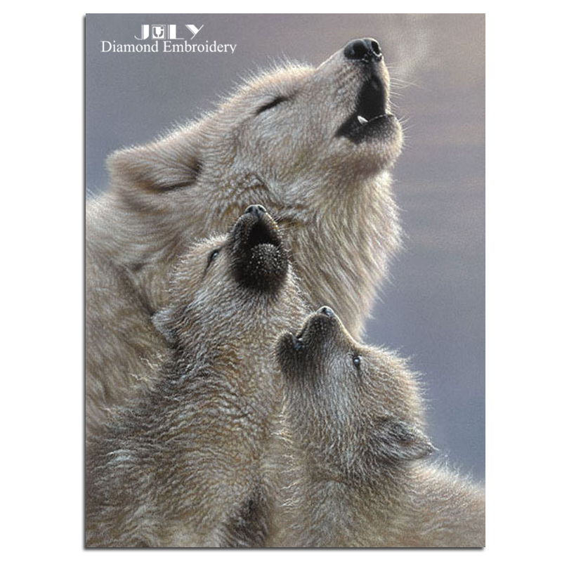 Diamonds mosaic picture animals wolves embroidery with