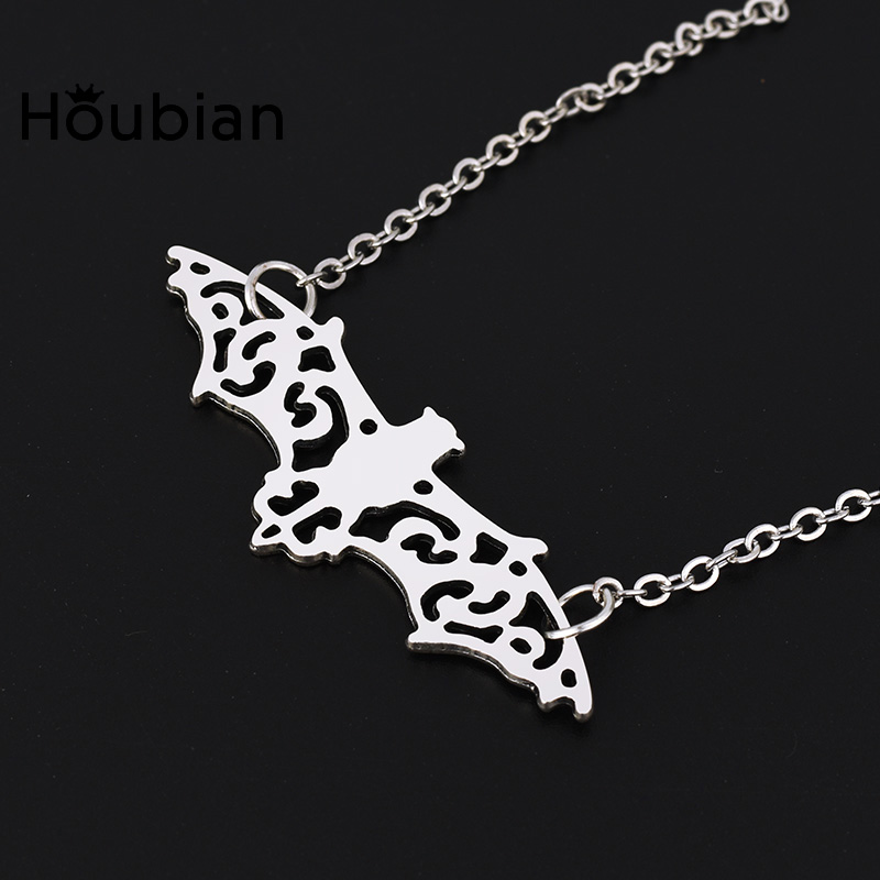 Houbian New Upload Hollow Bat Necklace Pandant Necklace Charms Chain Jewelry Animal Silver Color For Men And Women Dropshipping Curing Cough And Facilitating Expectoration And Relieving Hoarseness Pendant Necklaces