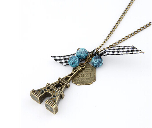 Hot-Selling Fashion Retro Beads Eiffel Tower Long Sweater Chain Necklace Christmas Gifts for Women