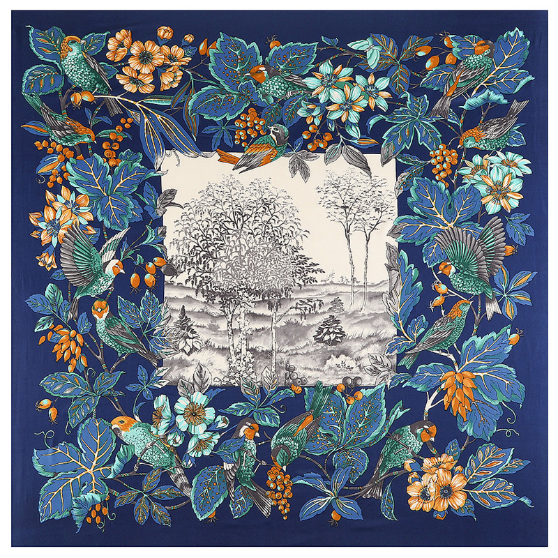 Luxury Brand 130cm Bohemia Bird Flower Hillside Twill 100% Silk Scarf Women Square Scarves Kerchief For Ladies Shawl Echarpe