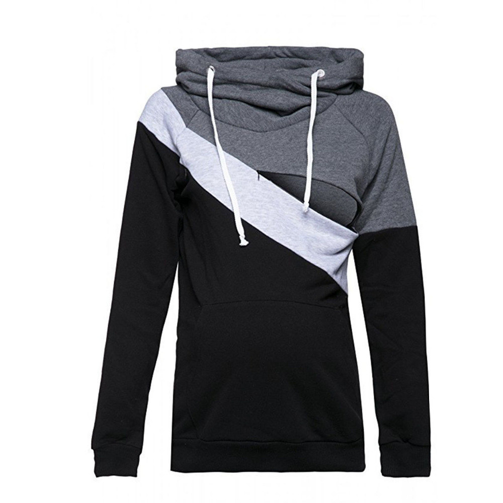 a554e7914b0 2018 Casual Patchwork Maternity Nursing Clothes Long Sleeve Nursing Top  Breastfeeding Hoodie for Pregnant Women Nursing Hoodies-in Hoodies from  Mother ...