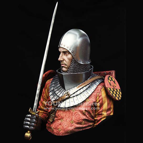 1/10 ORTAÇAĞ ŞÖVALYE 14th Yüzyıl Reçine kiti Büstü Figura GK Tarihi temaları Kaplanmamış Hiçbir renk