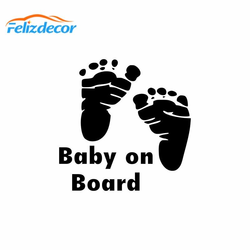 14 14cm Baby On Board Car Decal Footprint Feet Decals