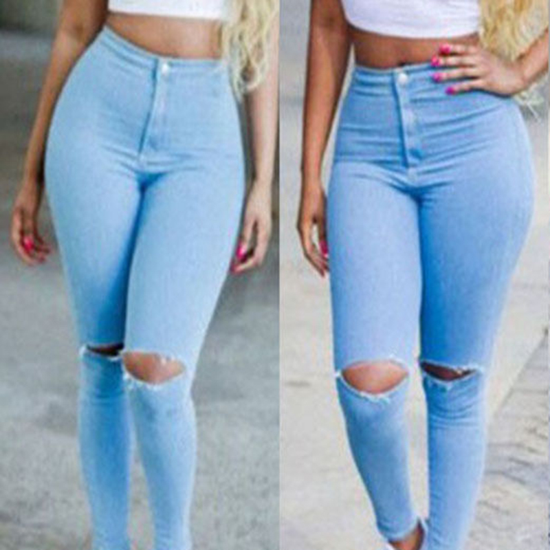 2017 HOT Fashion Womens Clothing Hole Jean Blue Sexy Women High Waisted Jeans Skinny Stretchy Pants Ripped Distressed Jeggings fashion ripped jeans high waist skinny jeans stretchy destroyed women pants trousers sexy hole jeans woman 2 colors pencil jean