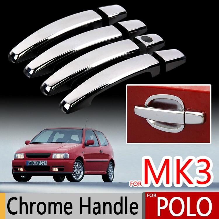 Pour VW Polo Mk3 1994-2003 Chrome Poignée Couvre 6N 6N2 Volkswagen 1996 1999 2000 Chrome Styling Autocollant De Voiture Styling Accessoires