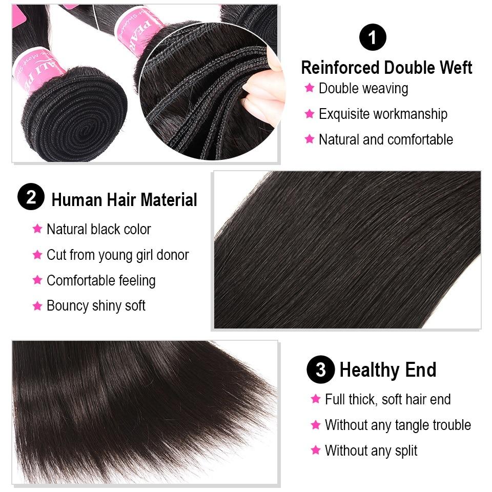 3/4 Bundles With Closure Alipearl Hair 100% Human Hair Bundles With Closure Brazilian Straight Hair Weave 3 Bundles Natural Black Remy Hair Extensions Human Hair Weaves