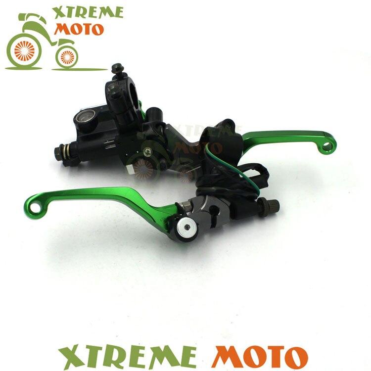Levier de frein Billet vert maître-cylindre + câble embrayage perche pour Kawasaki NINJA 250 300 400 Z125 250 300 moto 7/8