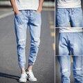 B0321 jeans hombres primavera 2016 cordón bolsillo personalidad skinny jeans hombres pantalones vaqueros del agujero azul hombre marca