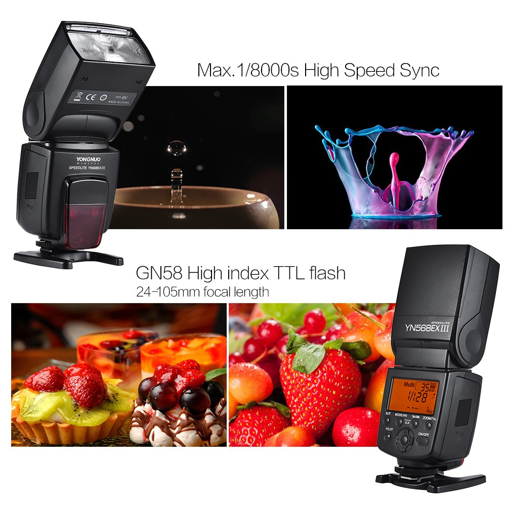 YONGNUO YN568EX III TTL Wireless Flash Speedlite for Nikon D800 D700 D600 D200 D7000 D90 D80 D5200 Dsrl Camera Photo Speedlight in Flashes from Consumer Electronics