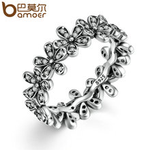 BAMOER 2017 New Arrival Wholesale Cheap Silver Color Popular Flower Finger Ring Fashion Wedding Jewelry 3 Size PA7220