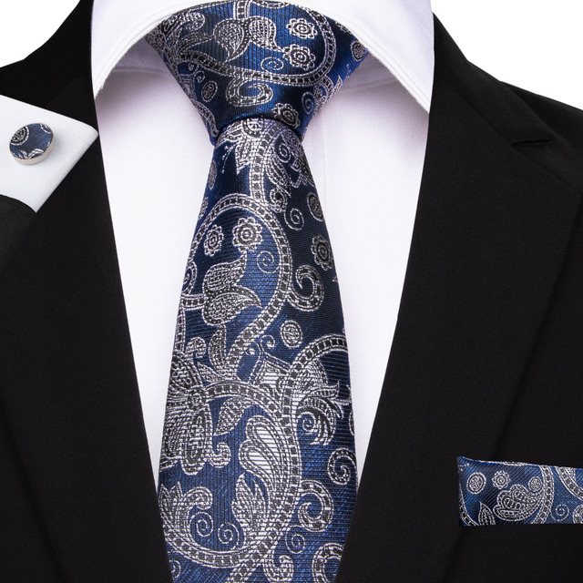 6c7108bfa9e4 26 Style Paisley Men's Tie Hanky Cufflinks Jacquard Woven Neck Ties For Men  Wedding Business Blue