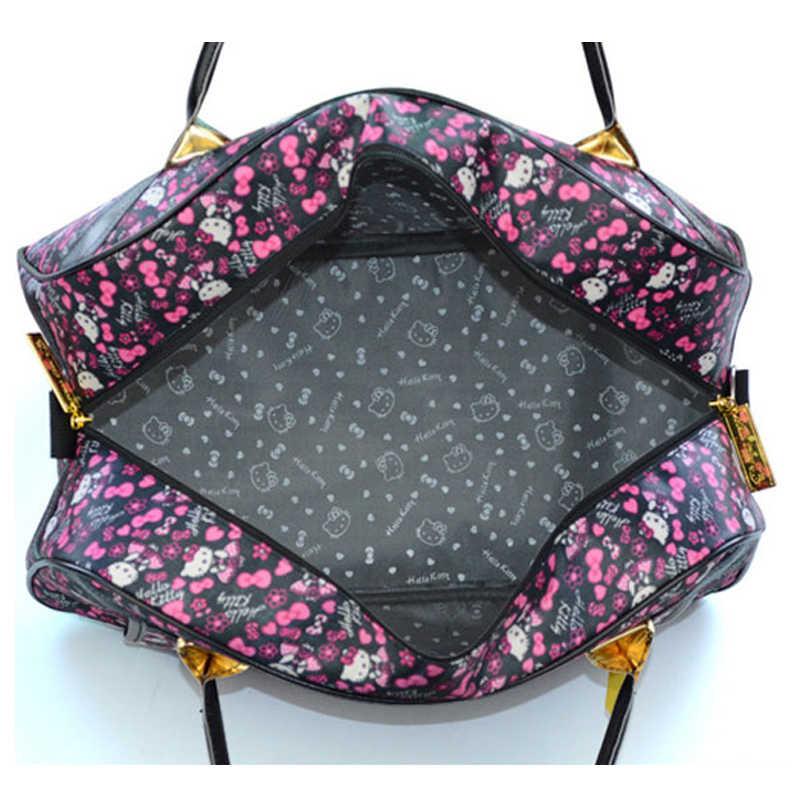 AMLETG Gato Bonito Olá Kitty Bolsa de Viagem Saco de Desporto Das Mulheres Das Senhoras Dos Desenhos Animados Bolsa Grande Capacidade À Prova D' Água Oxford Sacos De Pano