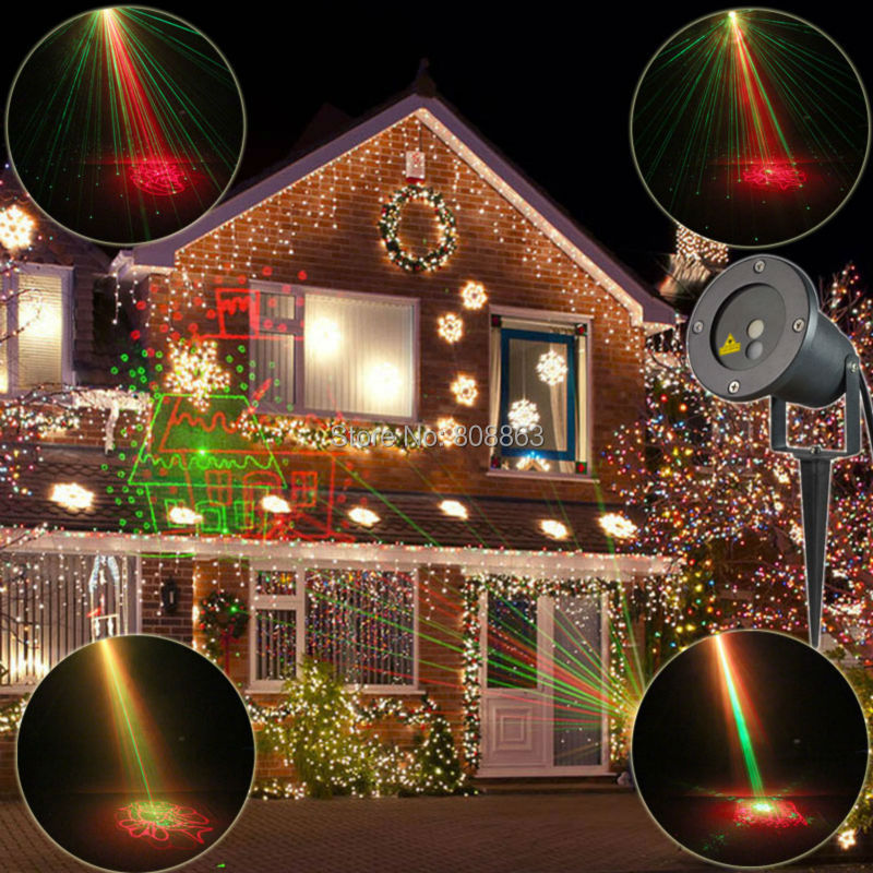 Outdoor Waterproof 8 Patterns R&G Laser Projector Landscape Holiday Christmas Club Home Party Tree Garden Xmas Stage Light T40 laser shower waterproof outdoor laser light projector christmas holiday twinkling star lights garden decorations for home