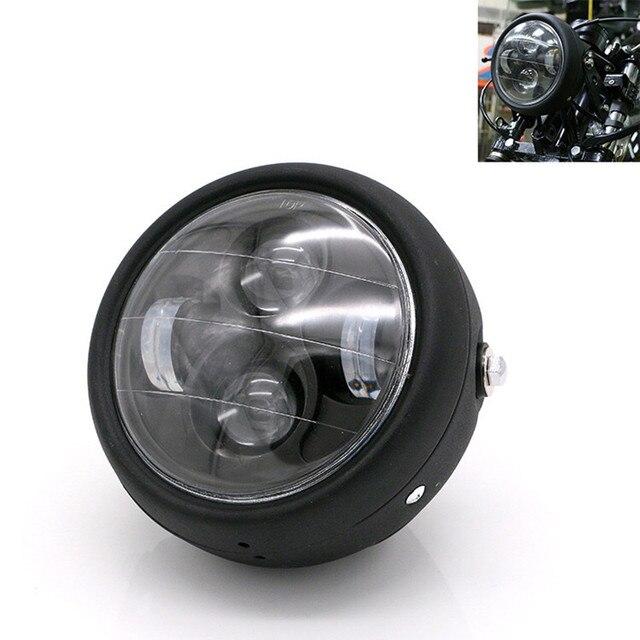 Faro LED para motocicleta hola y Lo faro bombilla DRL con Ángel anillo para Harley Sportster Cafe Racer Bobber
